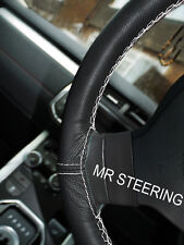 BLACK LEATHER STEERING WHEEL COVER FOR HYUNDAI AMICA ATOZ WHITE DOUBLE STITCHING