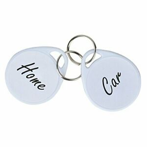 Uniclife 50 Pack Plastic Key Tags with Split Ring Label, White free shipping
