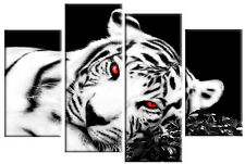 WHITE BLACK TIGER CANVAS RED EYES PICTURE SPLIT MULTI 4 PANEL WALL ART 100cm