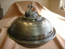 """ANTIQUE """"MOTHER FROM ANDREW"""" SWAN TOP BUTTER DISH"""
