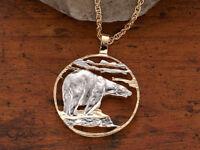 """Polar Bear Pendant & Necklace,Hand Cut Polar Bear Medallion,1 1/4"""" Dia.( # 837 )"""