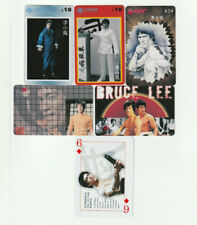 (5) Rare Bruce Lee Phone Cards + bonus playing card