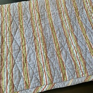 Pine Cone Hill Coverlet Quilt Gray Green Red Stripe Pot Luck TWIN 68 X 88