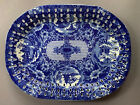 """LG 17"""" blue & white Chinese export Canton reticulated porcelain platter tray NR!"""