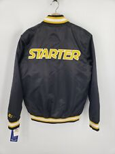 New Starter Mens Satin Bomber Jacket Quilted Lining Zip/Snap Throwback Size S