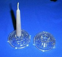 (2) Vintage STARS and BARS / THOUSAND LINE Cut Glass Taper Candle Stick Holders
