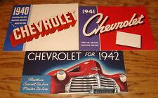 Original 1940 1941 1942 Chevrolet Full Line Sales Brochure Lot of 3 40 41 42
