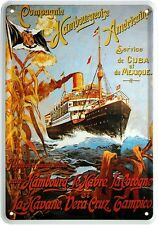 Blechpostkarte Hamburg Amerika Cuba Mexico Schifffahrt Linienschiff 10 x 14,5 #
