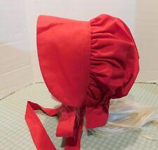 GIRLS OLD FASHION PRAIRIE SUN BONNET HAT Handmade red solid    size 8-13