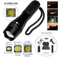 Zoomable XML L2 LED Tactical Flashlight+18650 Battery+Holder+Charger+Case AU