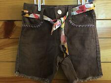 *GYMBOREE* Girls GLAMOUR SAFARI Brown Bermuda Shorts With Floral Belt Size 4
