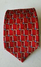 Jos. A. Bank Men's silk tie Necktie RED Gold Silver Geometric  MINT Condition .