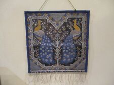 """Vintage Peacock Hanging Textile Tapestry w/Fringe Accents 10.5"""" L x 10.25"""" W"""
