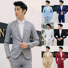 New Men's Slim Fit Smart Casual Contrast Blazer Coat Dress Suit Jacket Tuxedo