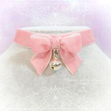 Kitten Play Collar Daddys Girl Choker Necklace Pink Velvet Bow Bell pastel goth