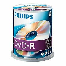 Philips DVD-R 100 Spindle - 120min - 4.7GB Recordable DVD DVDR Discs - 100 Pack