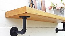 Solid wood wooden Chunky Rustic shelf with Black INDUSTRIAL PIPE Brackets