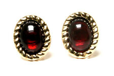 9ct Gold Garnet Rope Edge oval Stud earrings Made in UK Gift Boxed