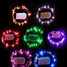 20 LED Copper String Light With Mini CR2032 Battery, White, Warm White, Colored