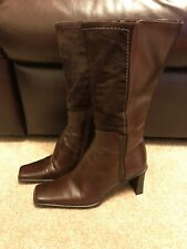Brown Faux Leather & Suede Knee High Boots Size 3.5
