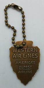 VINTAGE WESTERN AIRLINES BRASS KEY FOB -25TH ANNIVERSARY ARROW HEAD