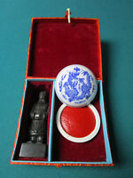 CHINESE STAMP AND WAX SET IN SILK BOX WARRIOR STONE STATUE PEDESTAL