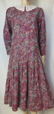 Laura Ashley Kleid 38 Rosen Blumen Spitzenkragen lila rosa grün m. Wolle vintage