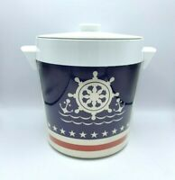 Vtg Thermo-Serv 4 Qt Ice Bucket Nautical  Red/ White Blue  Insulated