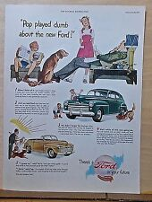 1947 magazine ad for Ford - Pop surprises kids with new Ford convertible coupe