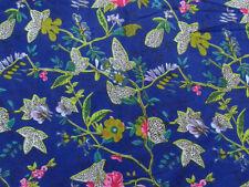 10 Yard Ethnic Blue Paradise Screen Print Indian Cotton Fabric Sewing Decor fab
