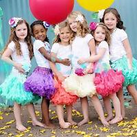 GIRLS FLUFFY PETTISKIRTS TUTUS PRINCESS PARTY SKIRT BALLET DANCE PETTICOAT FADDI