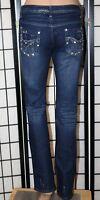 "V.I.P. Women's Size 5/6 Straight Leg Distressed Jeweled Jeans 32"" Inseam EUC"