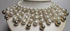 Vintage 50's Chunky Plastic Pearl Bead Drop Bib Collar Necklace White Gold
