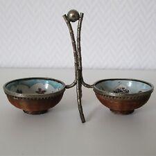 Antikes Gewürzschälchen aus Japan, Metallgestell mit zwei Porzellanschälchen