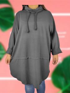 NEW Oversize Womens COWL NECK Lagenlook Cocoon Style Sweatshirt Tunic Top