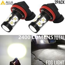 Alla Lighting 50W 2400lm H16 Super Bright 6000K White LED Fog Driving Light Bulb