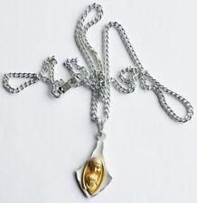 Bijou Vintage pendentif chaine médaille religieuse relief Ste vierge ange 3314