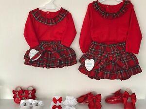 NEW KINDER GIRLS RED TARTAN FRILLY JAM PANTS & TOP SETS SPANISH INSPIRED 3-24 M