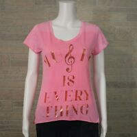 Recycled Karma Graphic T-shirt SMALL Music Is Everything Pink Metallic High Low