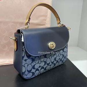 NWT Coach Marlie Top Handle Satchel In Signature Chambray