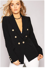 New Womens Double Breasted Gold Button Military Style Blazer Ladies Coat Jacket