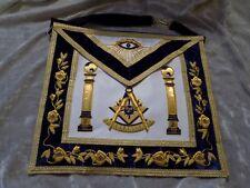 Past Master Gold Bullion Apron Square Masonic Pillars Leather Style Pocket NEW