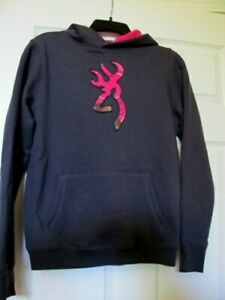 Browning XL Youth Overhead Sweatshirt New With Tags Gray with Pink Camouflage