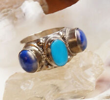 Silberring 60 Lapis Lazuli Blau Türkis Verspielt 3 Steine Kordel Ring Silber