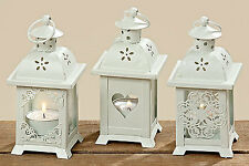 Lantern With Heart Set of 3 Wood Garden Decoration Shabby Candle Tealight