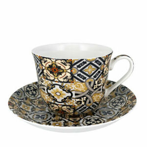 Cup and Saucer Set Heritage Black Azulejo Tiles Breakfast Teacup 400ml Gift Box
