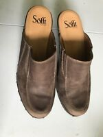 Sofft Womans Brown Leather Backless Heel Clog Slide Mule Mock Toe stitching 7.5M