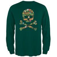 Skull And Crossbones Christmas Tree Cut Out Dark Green Adult Long Sleeve T-Shirt
