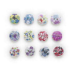 50pcs 2 Hole Printing Round Wood Buttons Clothing Sewing Scrapbooking Decor 15mm