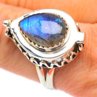 Large Labradorite 925 Sterling Silver Poison Ring Size 10 Ana Co R60955F